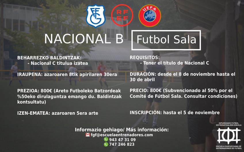 Nuevo curso de Nacional B de Fútbol Sala - GFF-FGF